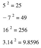 sayı örnek formülün karesi nasıl alınır