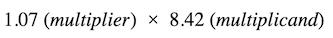 ondalık sayıları çarpma: çarpan ve çarpan